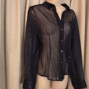 Sheer and sparkly navy blue blouse